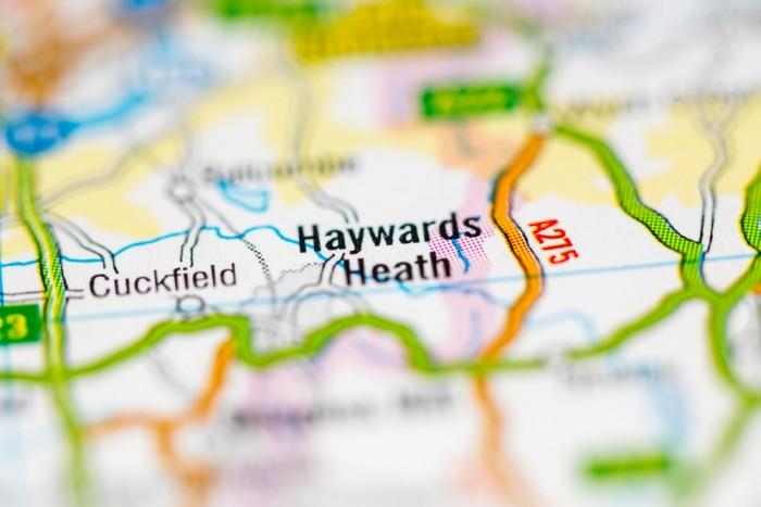 map showing pin in haywards heath