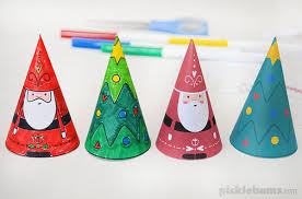 Paper Cone Christmas Decorations - Free Printable - Picklebums